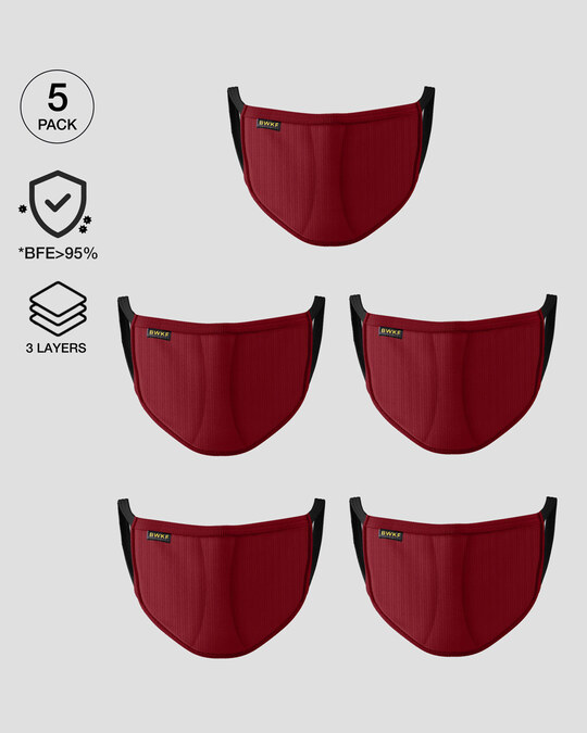 Shop 3 layer Reusable Life Mask Combo of 5 (Scarlet Red)-Front