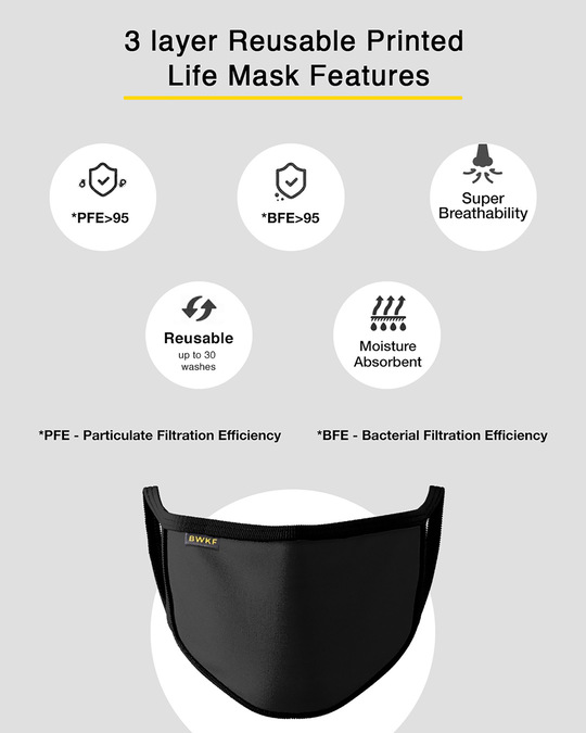 Shop 3 layer Premium Protective Mask Combo of 2 (Jet Black)