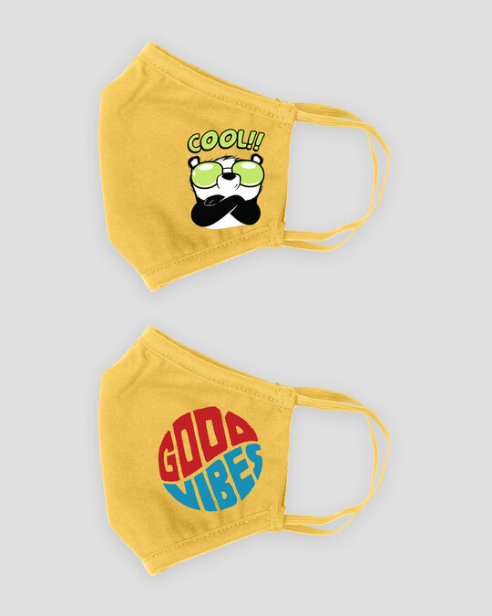 Shop 3-Layer Reusable Printed Life Mask-Pack of 2 ( Cool Panda! Good Vibes Circle! )-Design