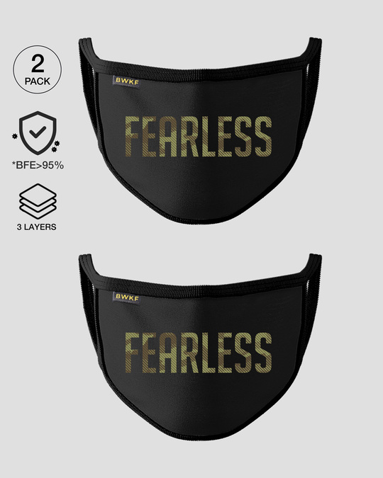 Shop 3-Layer Reusable Printed Life Mask-Pack of 2 (Fearless Camouflage Text)-Front