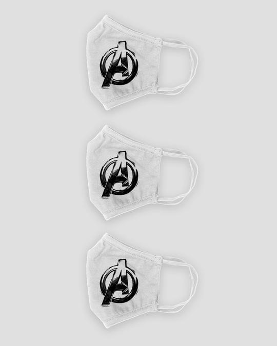 Shop 3-Layer Reusable Printed Life Mask-Pack of 3 (AVL Logo (AVL)) White-Design