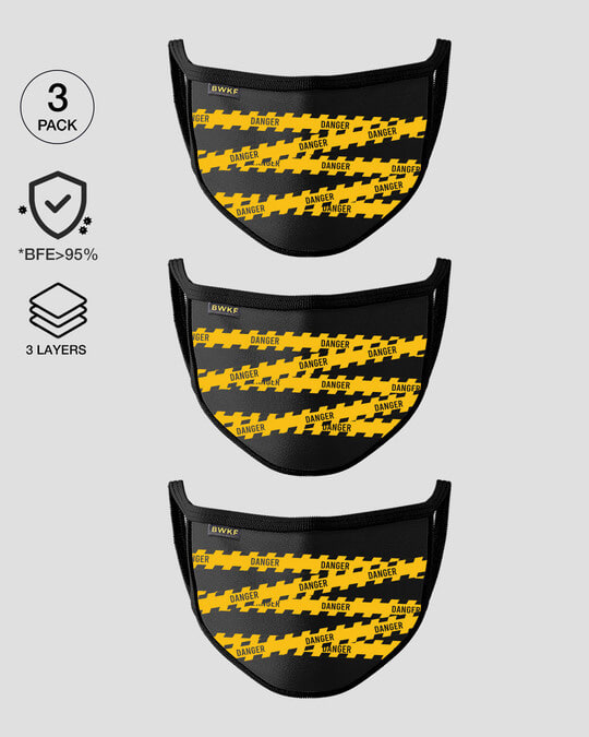 Shop 3-Layer Reusable Printed Life Mask-Pack of 3 (Danger)-Front