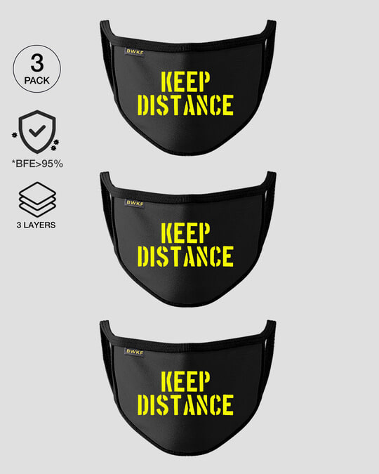 Shop 3-Layer Reusable Printed Life Mask-Pack of 3 (Distance)-Front