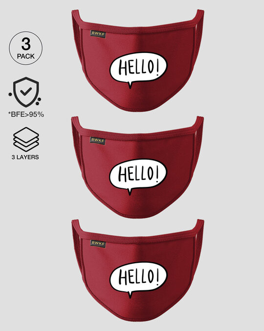 Shop 3-Layer Reusable Printed Life Mask-Pack of 3 (Hello) Scarlet Red-Front