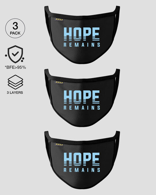 Shop 3-Layer Reusable Printed Life Mask-Pack of 3 (Hope Remains)-Front