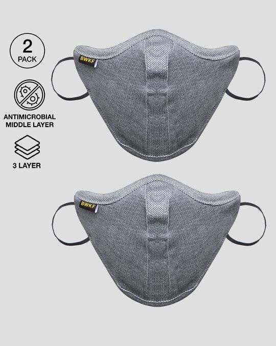 Shop 3 Panel N-95 Mask - Combo of 2  (Melange Grey)-Front