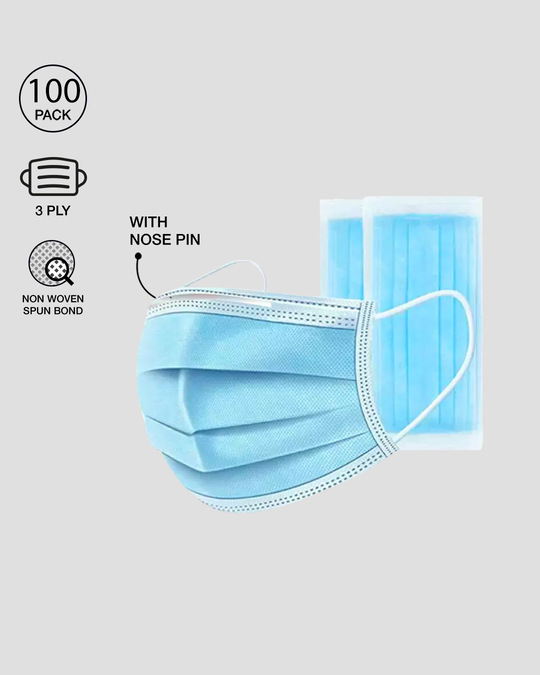 Shop 3 Ply Disposable Mask with Nose Pin - Pack of 100-Front