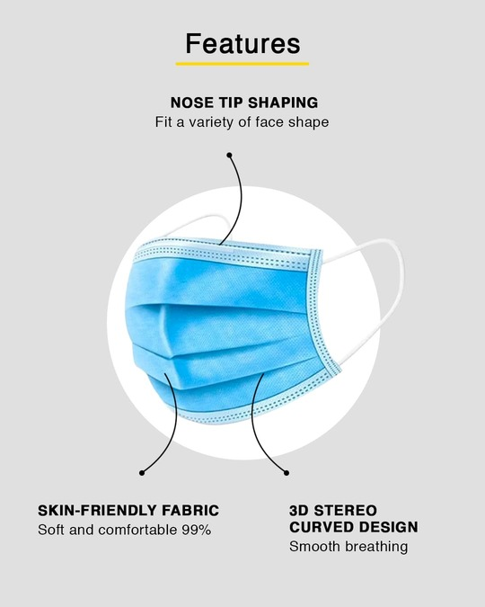 Shop 3 Ply Disposable Mask with Nose Pin - Pack of 100-Design