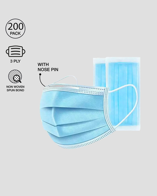 Shop 3 Ply Disposable Mask with Nose Pin - Pack of 200-Front