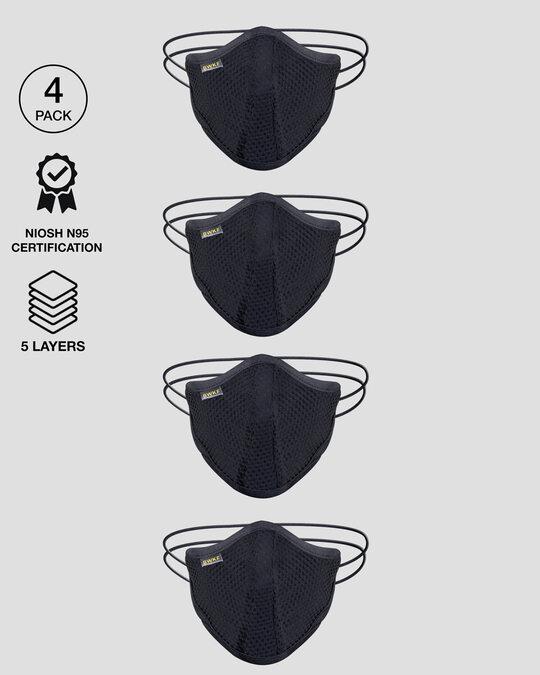 Shop 5-Layer Bewakoof N 95 Reusable Life Mask - Pack of 4 (Black)-Front