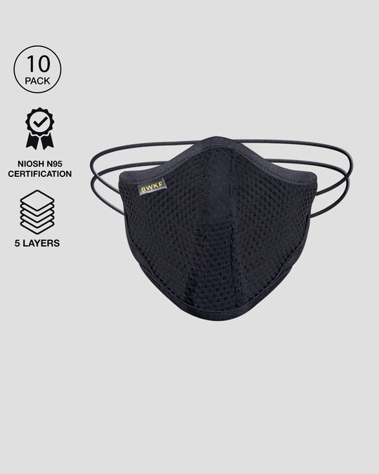 Shop 5 Layer  N 95 Reusable Life Mask Men Combo Of 10 (Jet Black)-Front