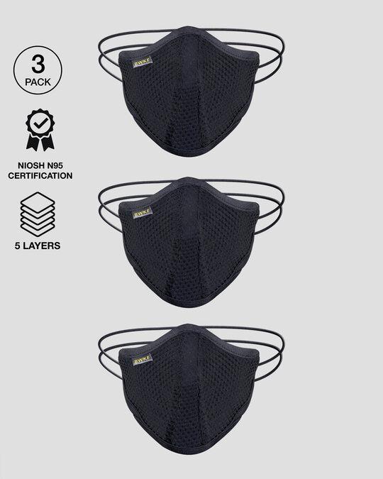 Shop 5 Layer Bewakoof N 95 Reusable Life Mask Men Combo of 3 (Jet Black)-Front