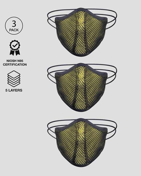 Shop 5 Layer Bewakoof N 95 reusable life mask Men Combo of 3 (Pineapple Yellow)-Front