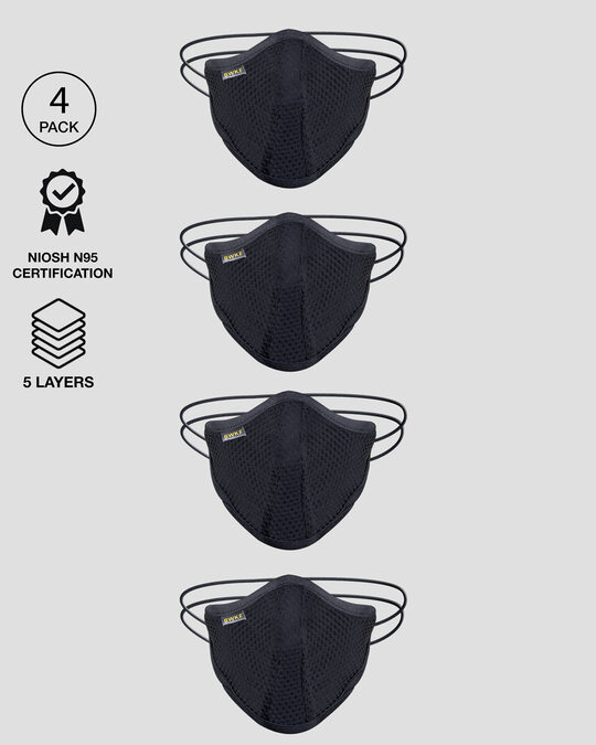 Shop 5 Layer Bewakoof N 95 reusable life mask Men Combo of 4 (Jet Black)-Front