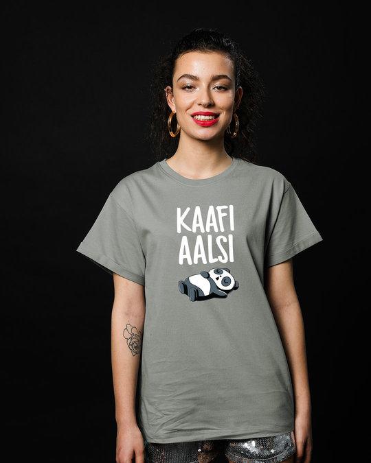 Shop Aalsi Panda Boyfriend T-Shirt-Front
