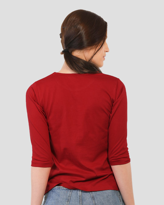 Shop Aalsu Round Neck 3/4 Sleeve T-Shirts Bold Red-Back