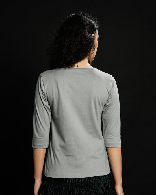 Shop Aami Bengali Round Neck 3/4th Sleeve T-Shirt Meteor Grey-Back