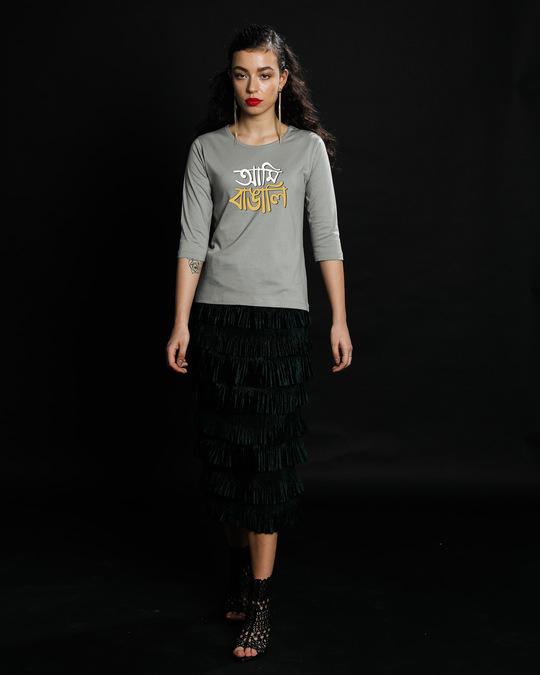 Shop Aami Bengali Round Neck 3/4th Sleeve T-Shirt Meteor Grey-Design