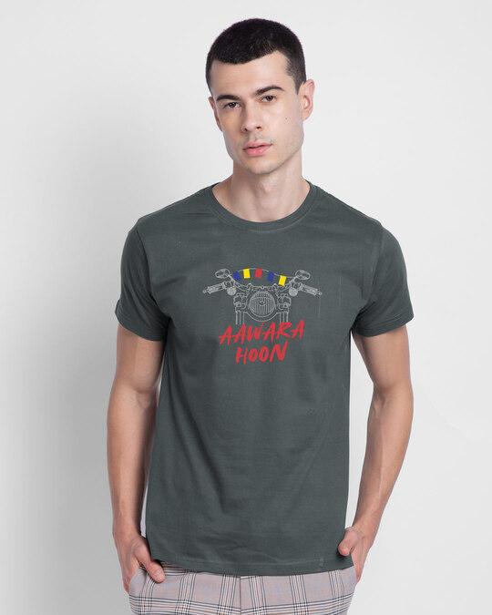 Shop Aawara Hoon Half Sleeve T-Shirt Nimbus Grey-Front