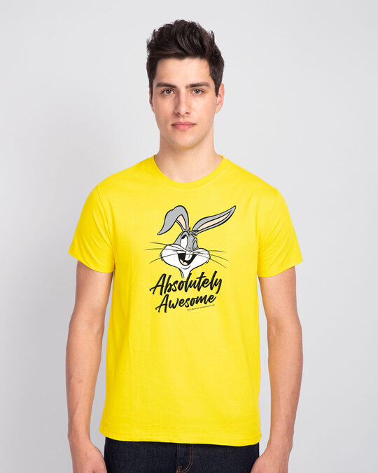 Shop Absolutely Awesome Bunny Half Sleeve T-Shirt (LTL) Pineapple Yellow-Front
