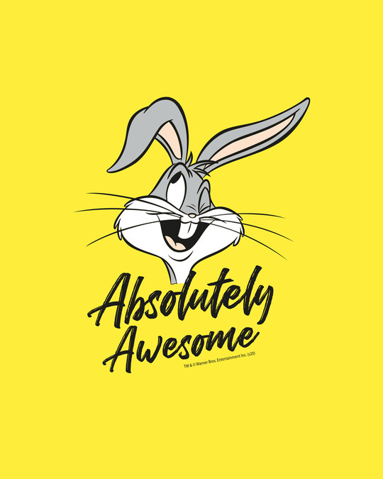 Shop Absolutely Awesome Bunny Half Sleeve T-Shirt (LTL) Pineapple Yellow-Full