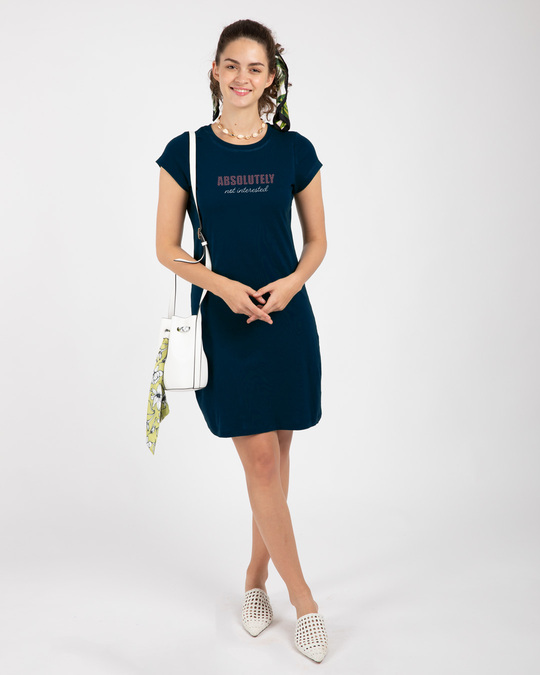 Shop Absolutely not Interested Cap Sleeve Printed T-Shirt Dress Navy Blue-Full