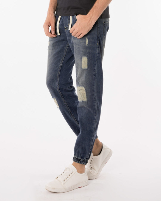 Shop Abstract Blue Denim Joggers-Back