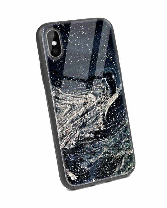 Shop Abstract Glitter iPhone X Glass Mobile Cover-Back