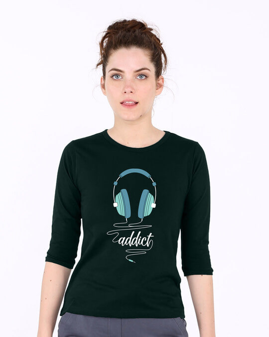 Shop Addict Music Round Neck 3/4th Sleeve T-Shirt-Front