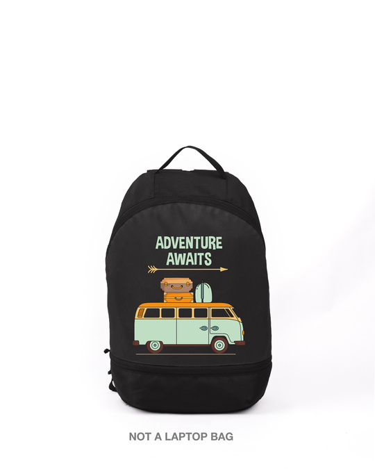 Shop Adventure Awaits Van Printed Small Backpack-Front