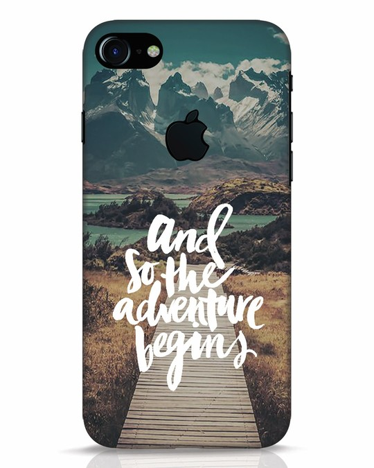 Shop Adventure Begins iPhone 7 Logo Cut Mobile Cover-Front