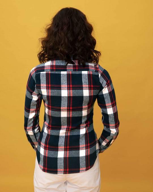Shop Aegean Blue Check Slim Shirt-Full