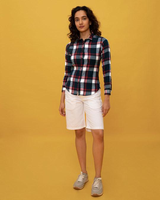 Shop Aegean Blue Check Slim Shirt
