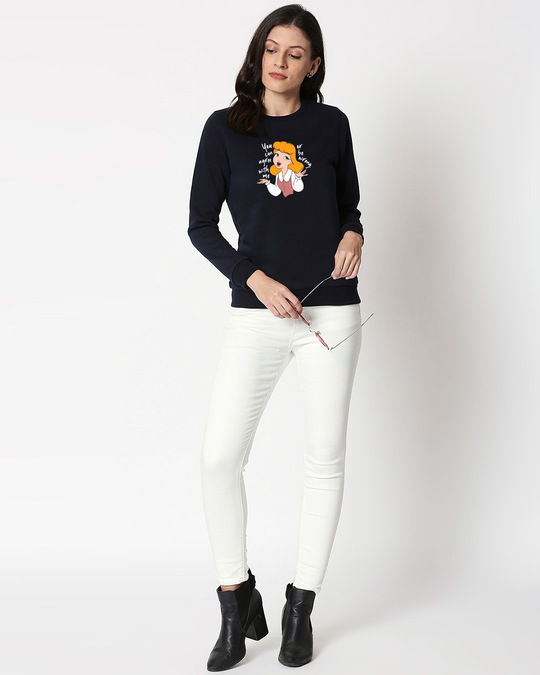 Shop Agree With Me Fleece Sweater (DL) Navy Blue-Design