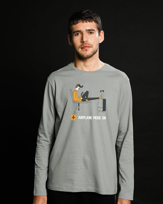 Shop Airplane Mode On Full Sleeve T-Shirt-Front