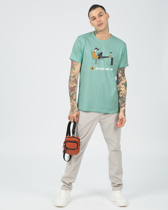 Shop Airplane Mode On Half Sleeve T-Shirt-Design
