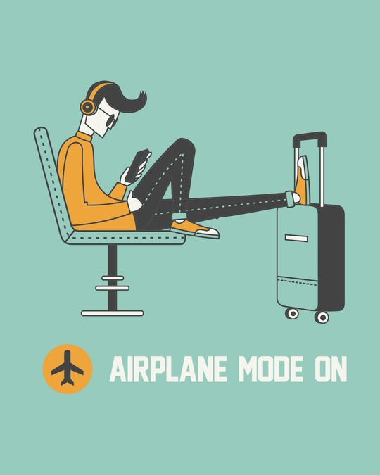 Shop Airplane Mode On Half Sleeve T-Shirt