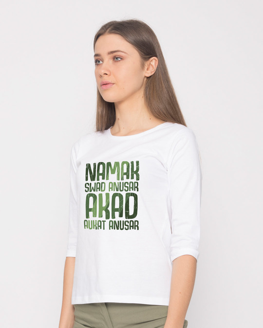Shop Akad Aukat Anusar Round Neck 3/4th Sleeve T-Shirt-Back
