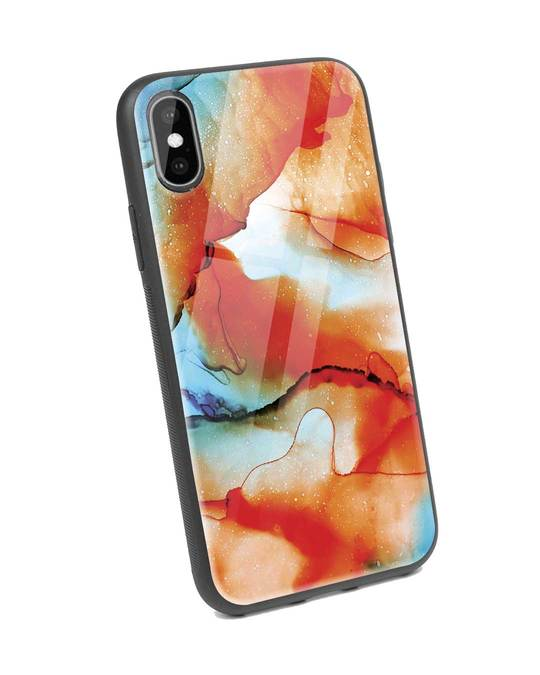 Shop Alcohol Ink Splash iPhone XS Glass Mobile Cover-Back