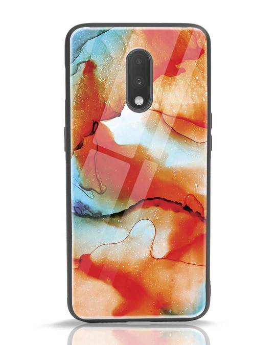 Shop Alcohol Ink Splash OnePlus 7 Glass Mobile Cover-Front