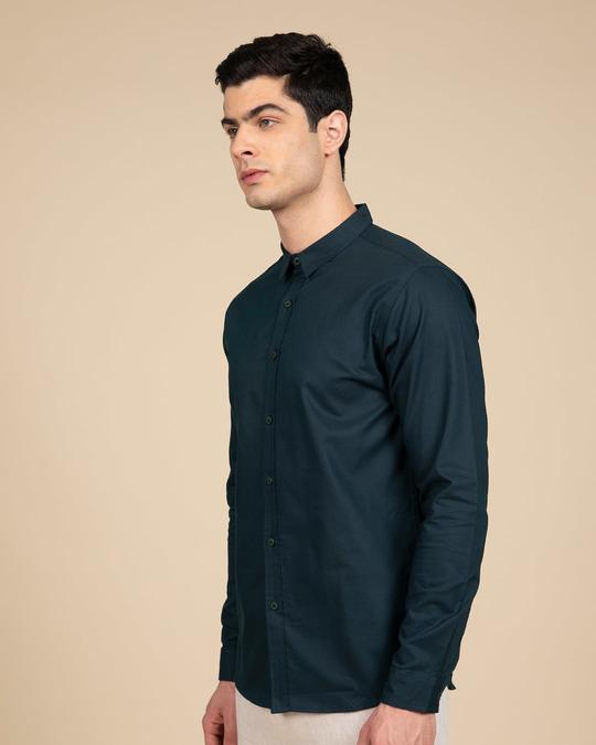 Shop Alice Blue Slim Fit Oxford Full Sleeve Shirt-Back