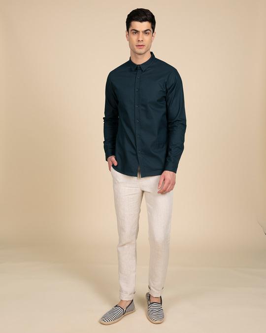 Shop Alice Blue Slim Fit Oxford Full Sleeve Shirt-Full