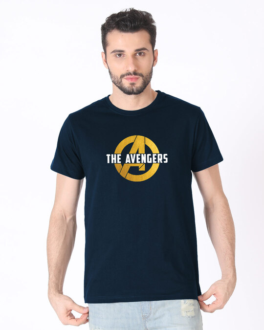 Shop All The Avengers Half Sleeve T-Shirt (AVL) (GOLD PRINT)-Back