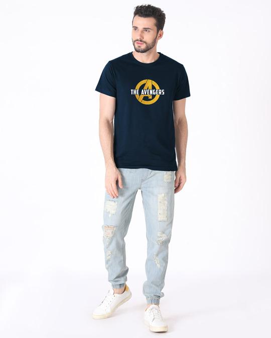 Shop All The Avengers Half Sleeve T-Shirt (AVL) (GOLD PRINT)-Full
