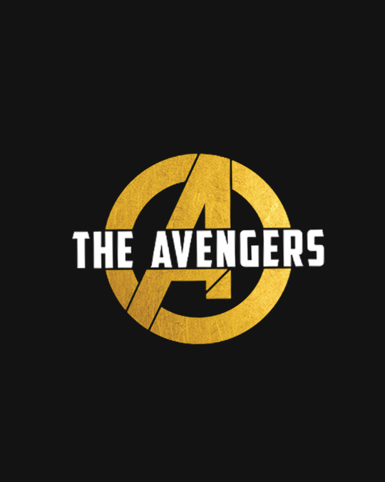 Shop All The Avengers Half Sleeve T-Shirt (AVL) (GOLD PRINT)