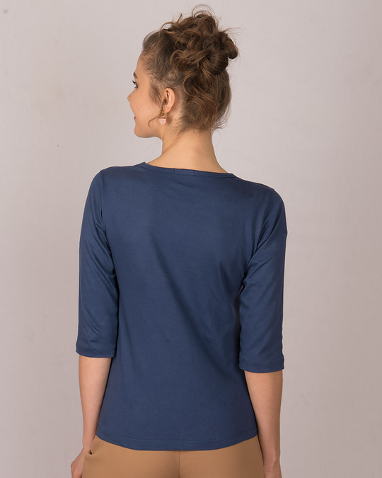 Shop All You Need Is Fashion Round Neck 3/4th Sleeve T-Shirt-Back