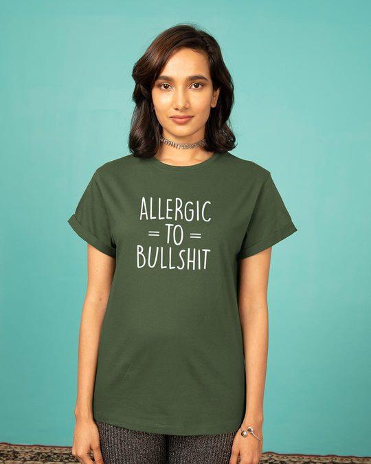 Shop Allergic To Bullshit Boyfriend T-Shirt-Front