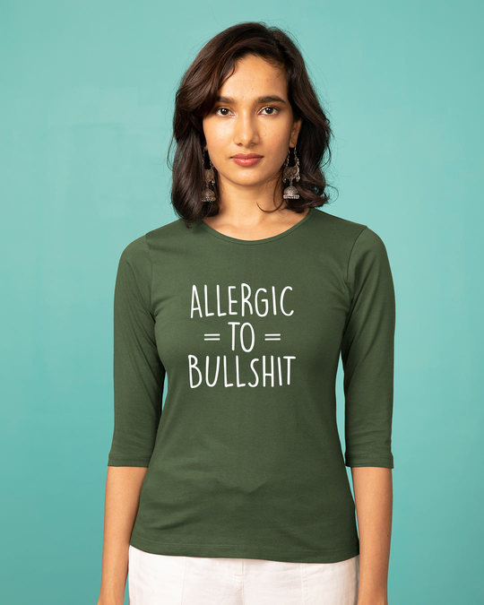Shop Allergic To Bullshit Round Neck 3/4th Sleeve T-Shirt-Front