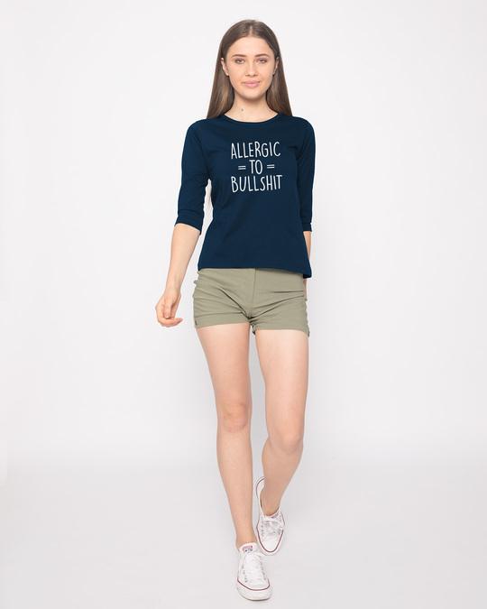 Shop Allergic To Bullshit Round Neck 3/4th Sleeve T-Shirt