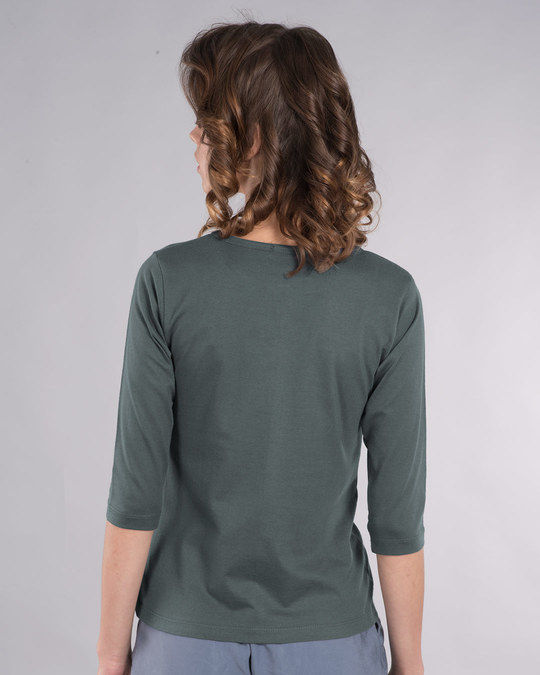 Shop Allergic To Idiots Round Neck 3/4th Sleeve T-Shirt-Back